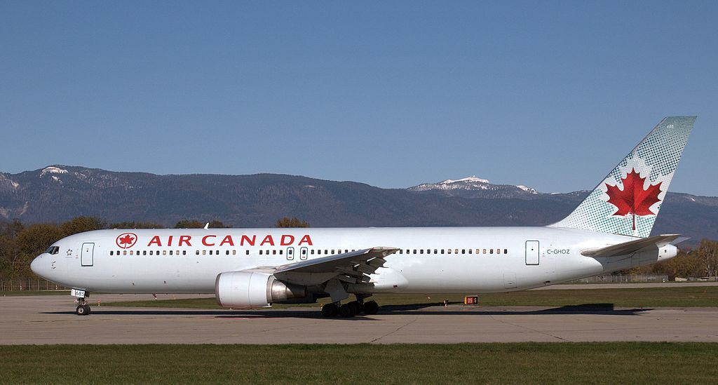 Boeing 767 300ER of Air Canada C GHOZ at Geneva International Airport
