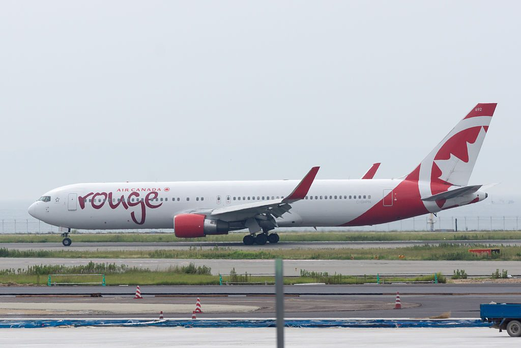 Boeing 767 33AER Air Canada Rouge C GHPN 692 AC1951 Arrived from Vancouver at Osaka Kansai Intl Airport