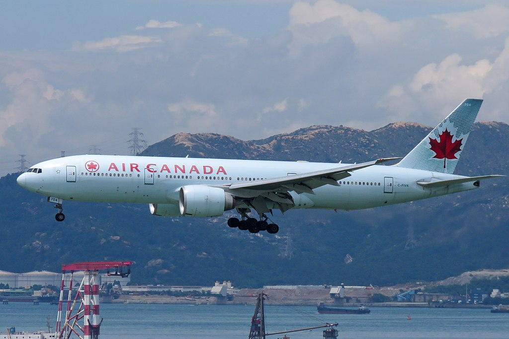 Boeing 777 200LR of Air Canada C FIVK on final approach at Hong Kong International Airport