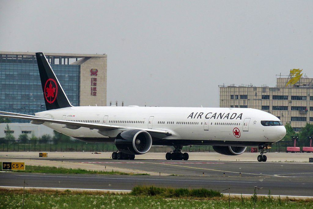 Boeing 777 300ER of Air Canada C FITW at Beijing Capital International Airport
