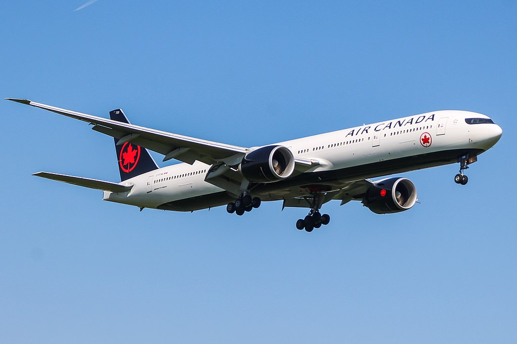Boeing 777 300ER of Air Canada C FITW on final approach at London Heathrow Airport
