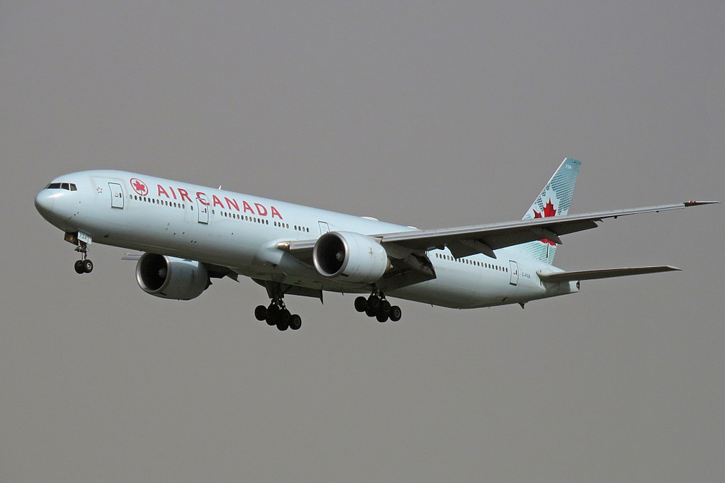 Boeing 777 300ER of Air Canada C FIUL on final approach at Beijing Capital International Airport