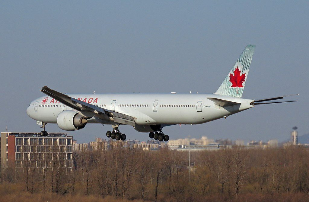 Boeing 777 300ER of Air Canada C FIUW arrival at Beijing Capital International Airport