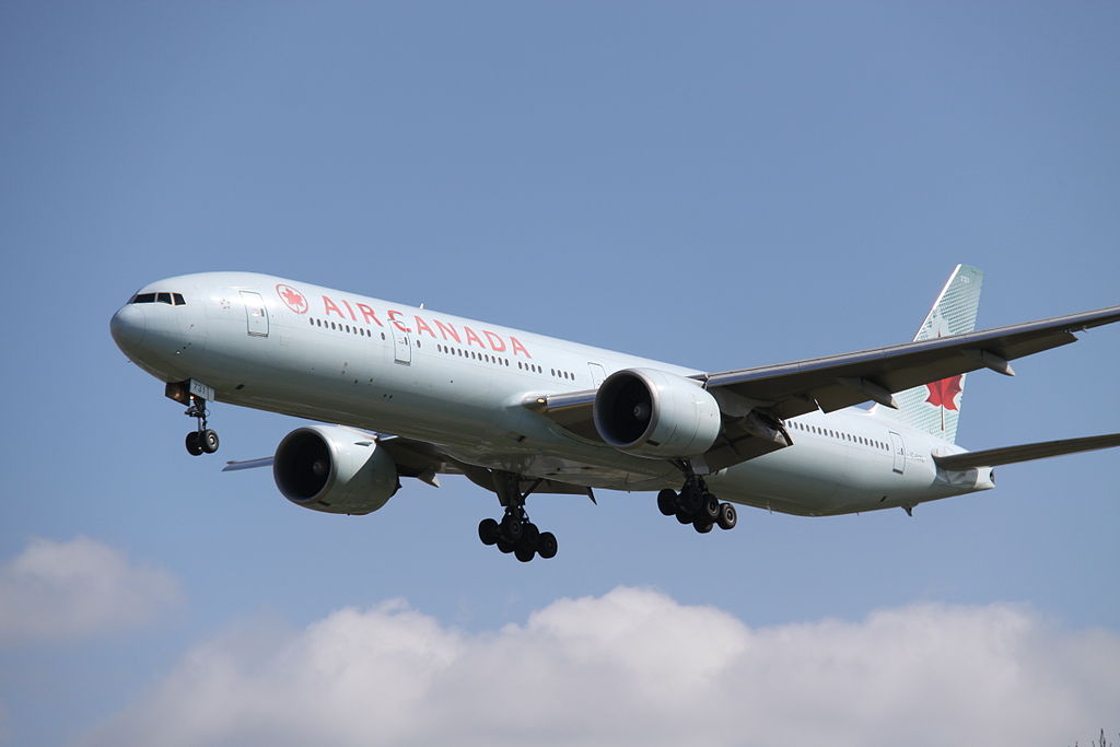 Boeing 777 333ER Air Canada C FITL on final approah at London Heathrow Airport