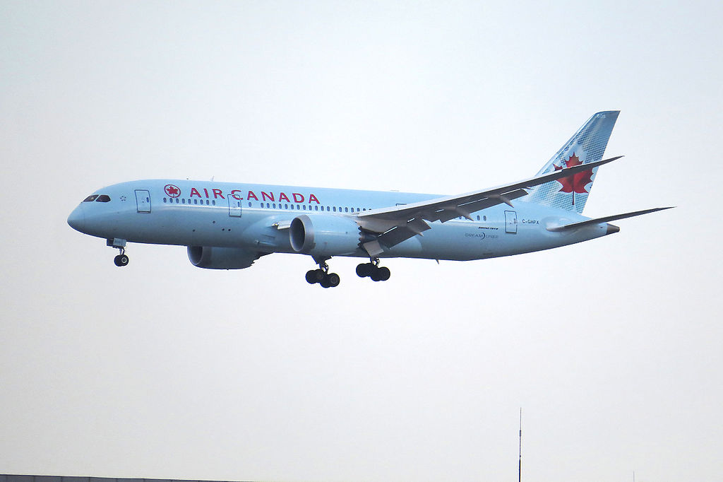 Boeing 787 8 Dreamliner Air Canada C GHPX on final approach at Beijing Capital International Airport