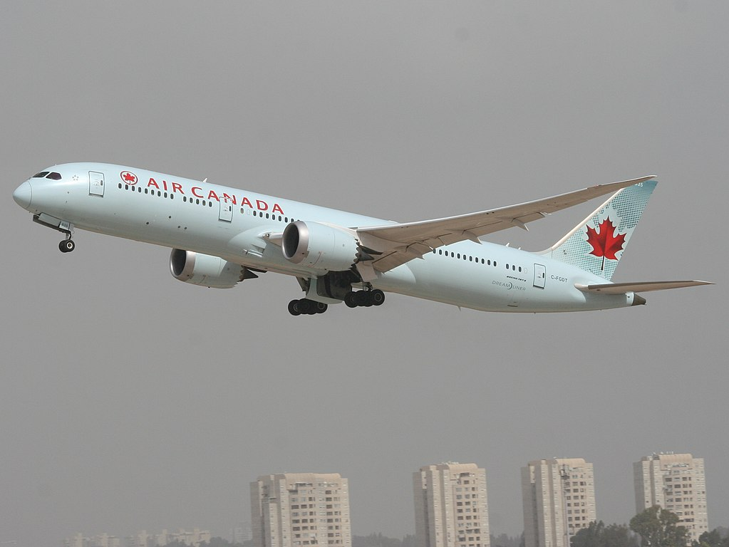 Boeing 787 9 Dreamliner Air Canada Fleet C FGDT taking off at Ben Gurion airport