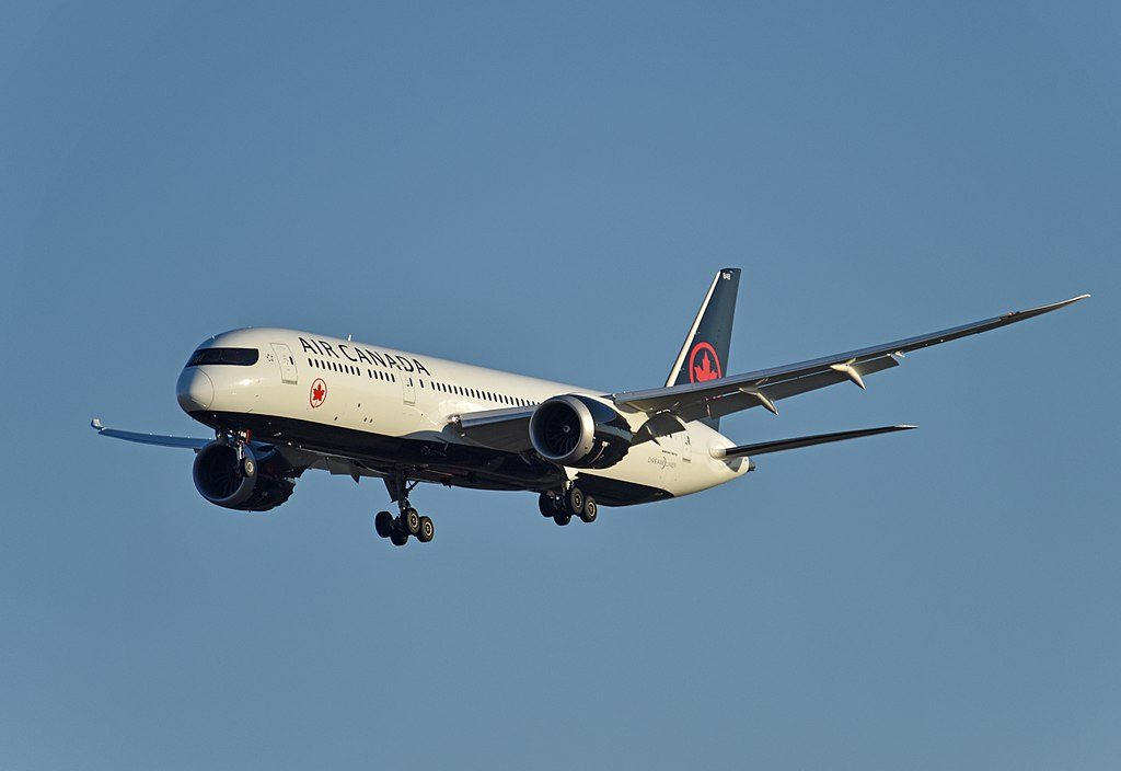 Boeing 787 9 Dreamliner of Air Canada C FRSR on final approach at Beijing Capital International Airport