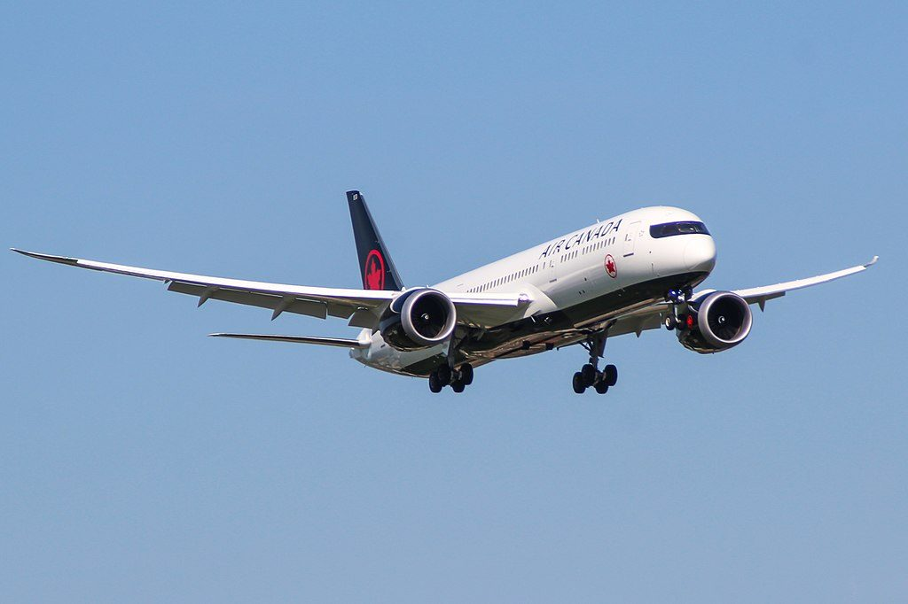 Boeing 787 9 Dreamliner of Air Canada Fleet C FVLQ at London Heathrow Airport
