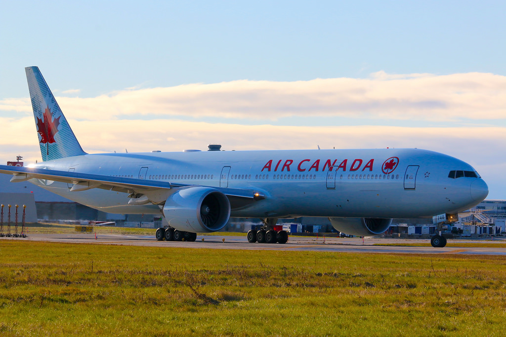 Boeing B777 333ER Air Canada C FJZS Taxing to runway 23 for departure to Vancouver YVR YYZ