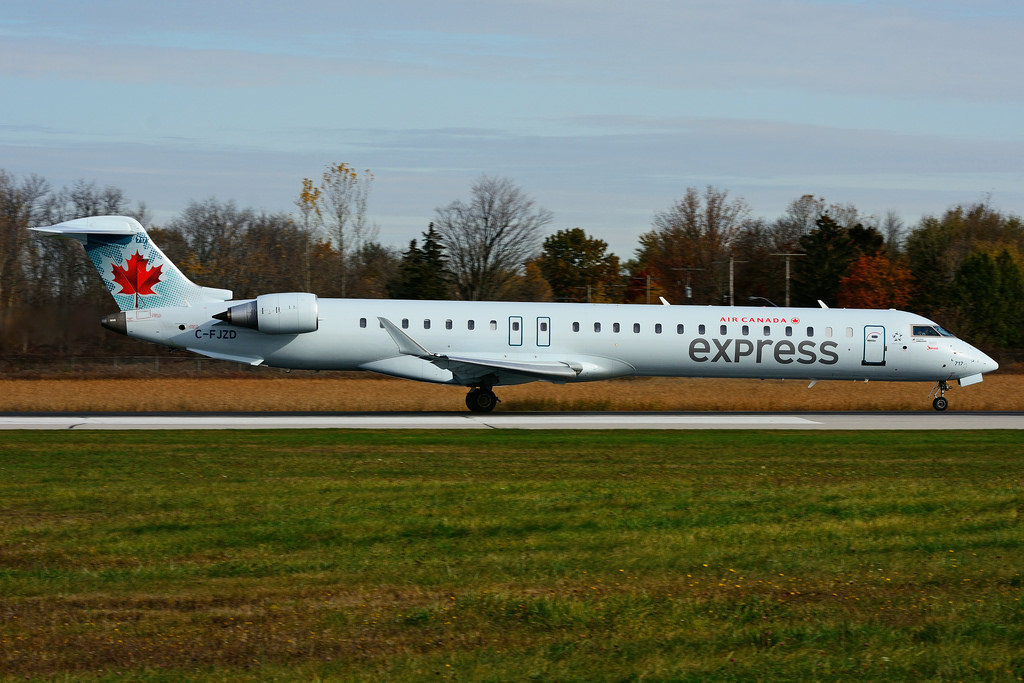 Bombardier CRJ900 C FJZD Air Canada express operated by JAZZ Aviation at Hamilton International Airport YHM