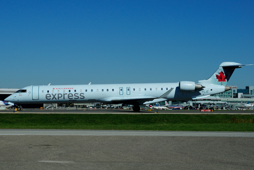 Bombardier CRJ900 C FLJZ Air Canada express operated by JAZZ at Toronto Lester B. Pearson Airport YYZ