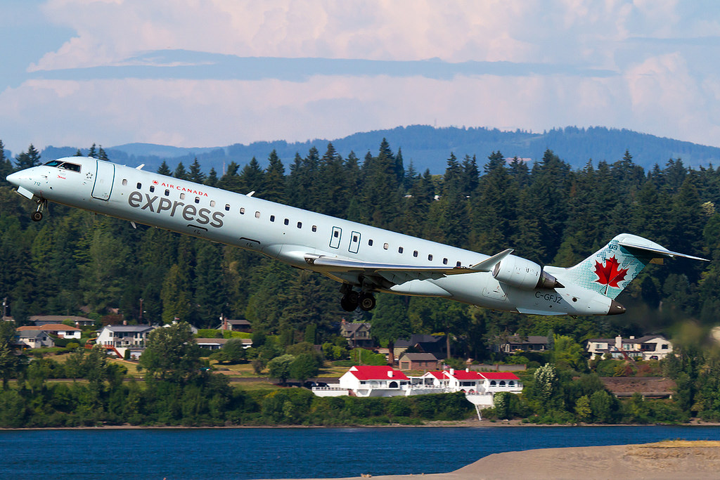 Bombardier CRJ900 C GFJZ Air Canada Express operated by Jazz departing Portland International Airport
