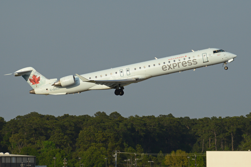 Bombardier CRJ900 C GOJZ Air Canada Express Jazz departing on flight ACA8107 to Calgary at George Bush Intercontinental Airport