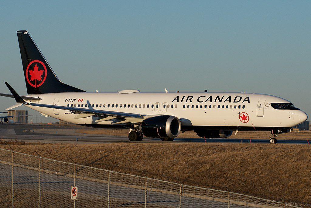 C FTJV Air Canada Boeing 737 MAX 8 departing Toronto Pearson International Airport