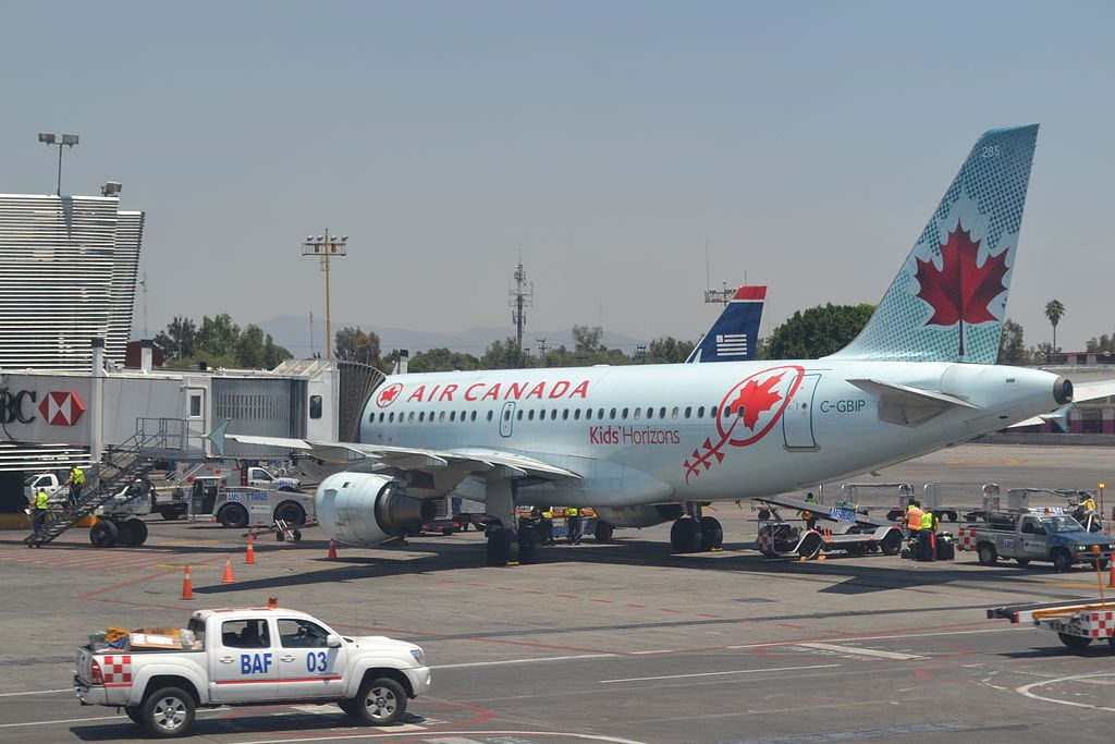 C GBIP Air Canada Airbus A319 114 cnserial number 546 Kids Horizons at Mexico City International Airport