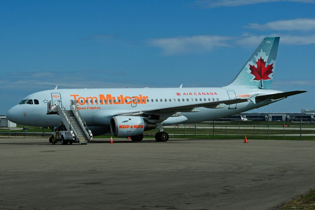 C GBIP Airbus A319 114 Air Canada leased to the NDP for the 2015 Federal election campaign of Tom Mulcair at Toronto Lester B. Pearson Airport YYZ
