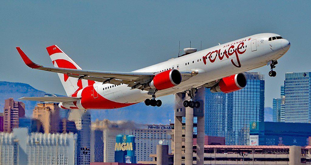 C GHLQ Air Canada Rouge Boeing 767 333ER departing Las Vegas McCarran International Airport LAS KLAS