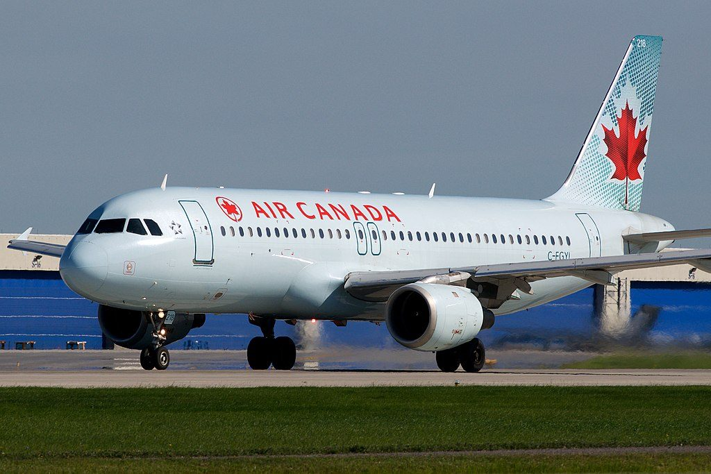 Canada Narrow Body Aircraft Airbus A320 200 C FGYL rolling for takeoff at Montréal Pierre Elliott Trudeau International Airport