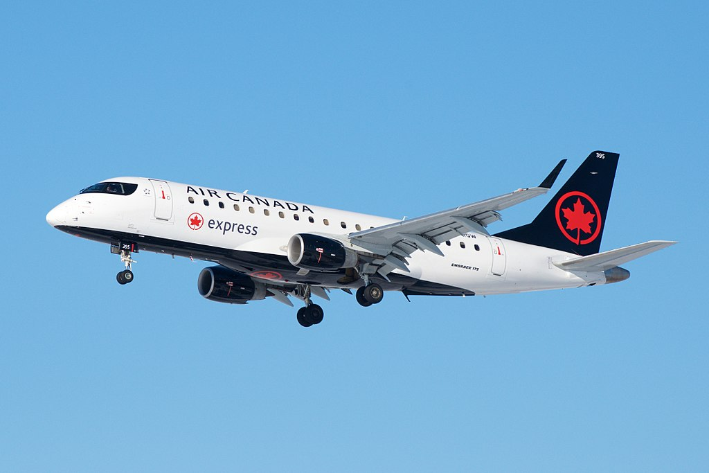 Embraer E175 Air Canada Express C FRQW Operated by Sky Regional Airlines on final approach at Toronto Pearson International Airport