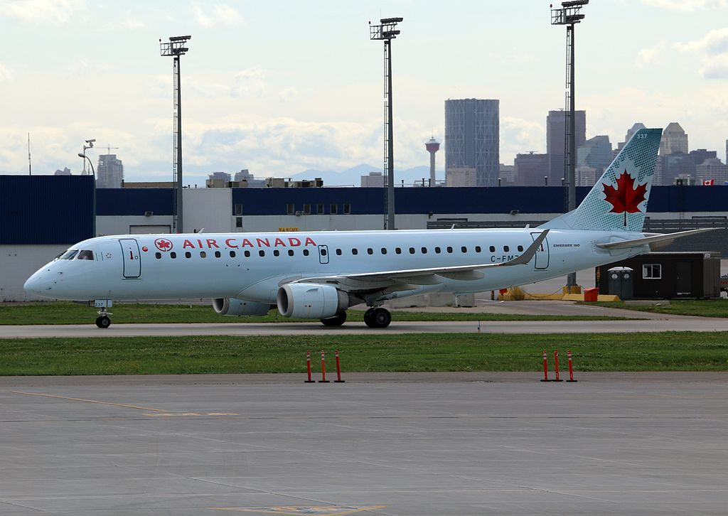 Embraer E190 Air Canada Aircraft Fleet C FMZU at Calgary Airport