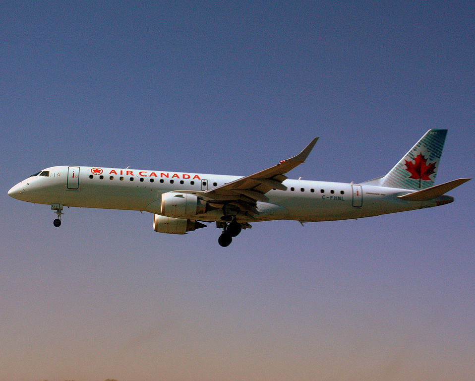 Embraer E190 of Air Canada C FHNL at Edmonton International Airport