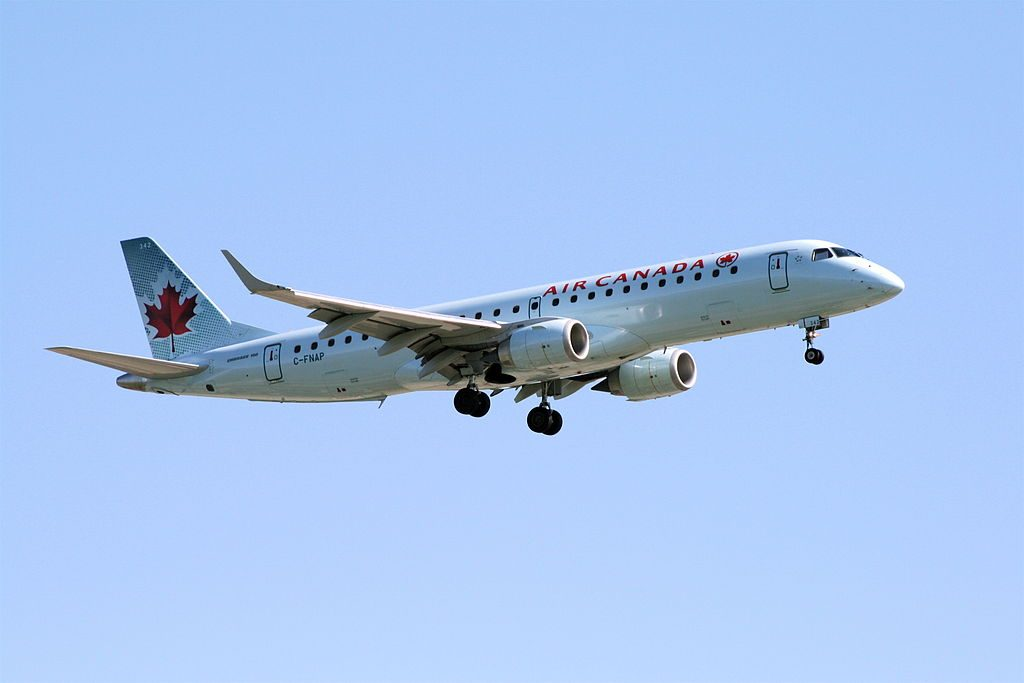 Embraer E190 of Air Canada C FNAP on final approach at Vancouver International Airport
