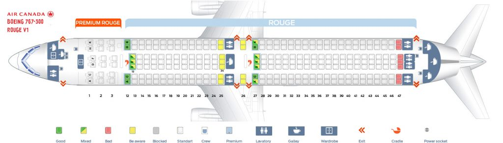 First Cabin Confuguration Seat Map and Seating Chart Boeing 767 300ER Air Canada Rouge