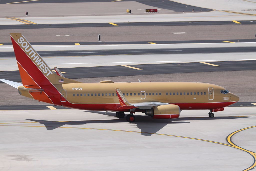 N714CB Boeing 737 700 Southwest Airlines in Retro Classic One Livery Colours at Phoenix Sky Harbor International
