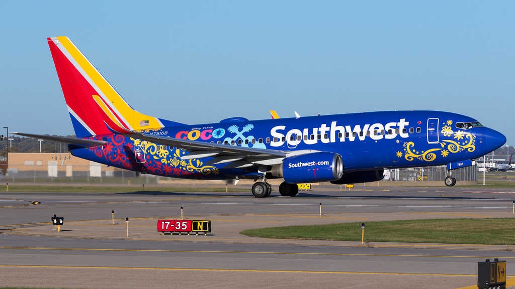 N7816B Southwest Airlines Boeing 737 700 in the Disney Pixar Coco livery departing runway 17 for St. Louis MSP