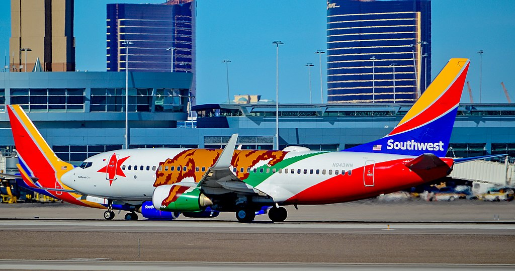 N943WN Southwest Airlines Boeing 737 7H4 sn 36913 California One Special Livery Colors taxiing at McCarran International LAS KLAS