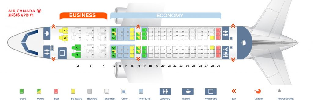 Seat Map and Seating Chart Airbus A319 100 Air Canada