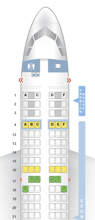 Seat Map and Seating Chart Airbus A319 100 Air Canada Rouge