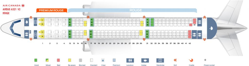 Seat Map and Seating Chart Airbus A321 200 Air Canada Rouge