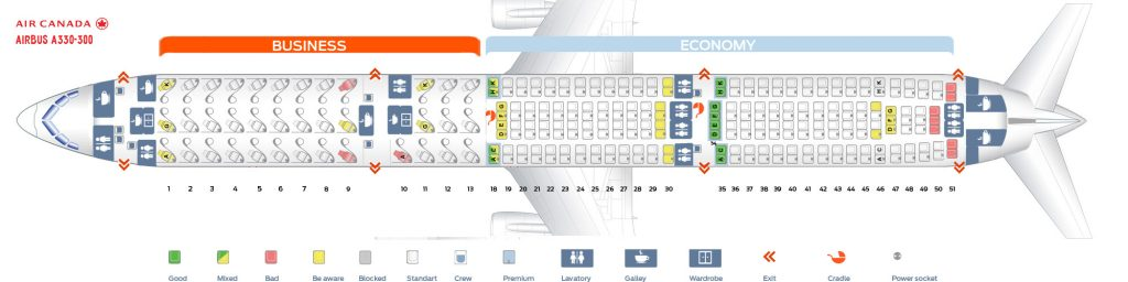 Seat Map and Seating Chart Airbus A330 300 Air Canada Version 1