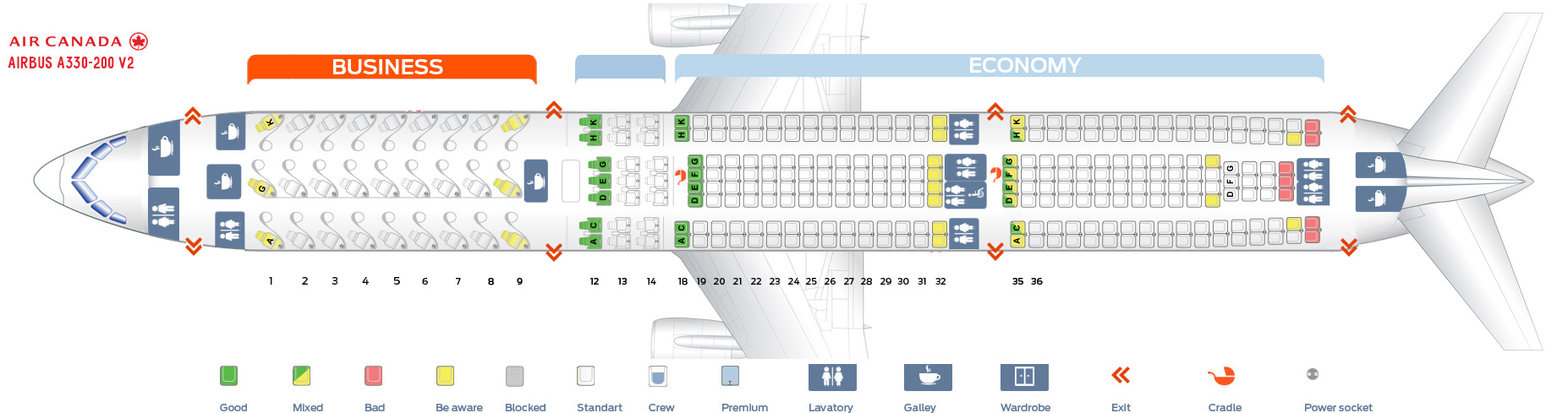 Seat Map and Seating Chart Airbus A330 300 Air Canada Version 2