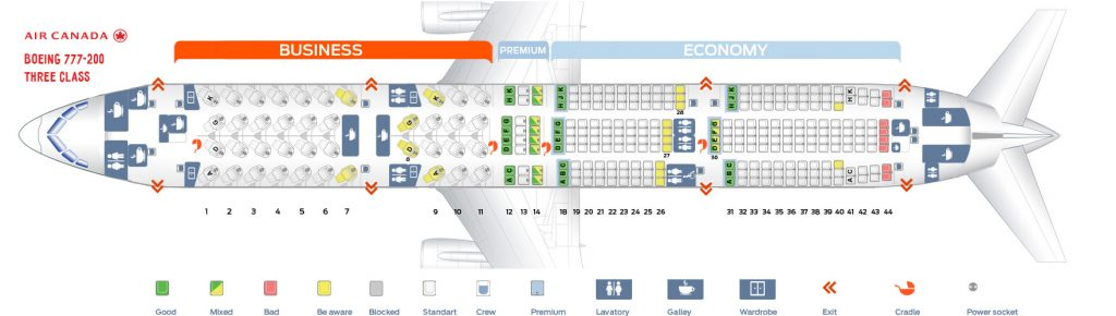 Seat Map and Seating Chart Boeing 777 200LR Air Canada