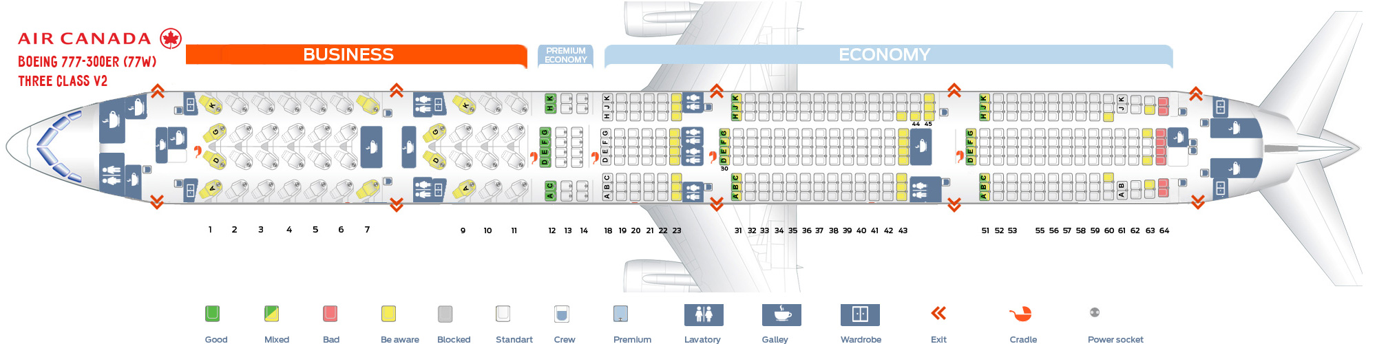 Seat Map and Seating Chart Boeing 777 300ER Air Canada 77W Three Class V1