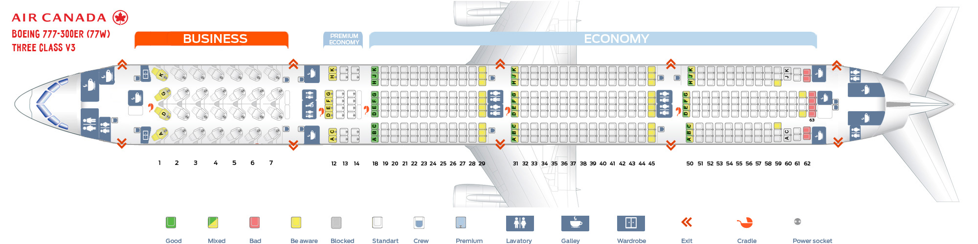Seat Map and Seating Chart Boeing 777 300ER Air Canada 77W Three Class V2