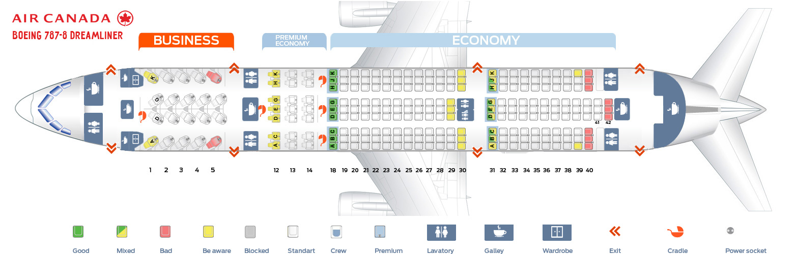 Seat Map And Seating Chart Boeing 787 8 Dreamliner Air Canada