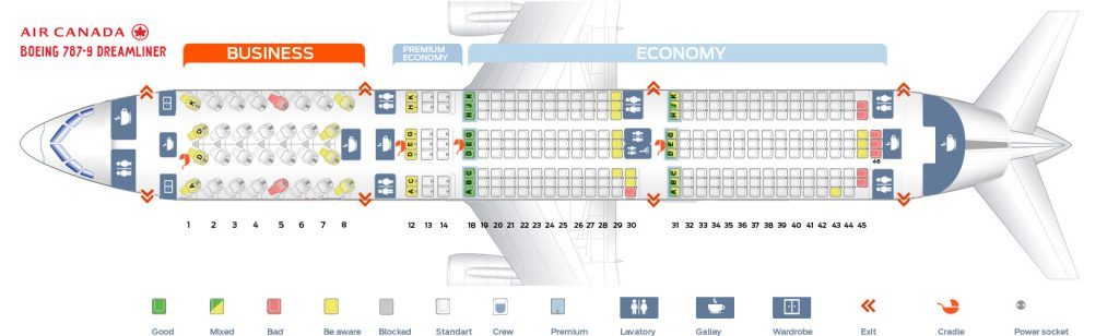 Seat Map and Seating Chart Boeing 787 9 Dreamliner Air Canada