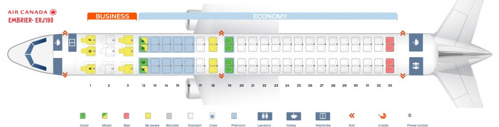 Seat Map and Seating Chart Embraer E190 Air Canada
