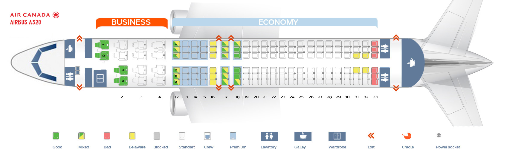Seat Map And Seating Chart Airbus A320 200 Air Canada