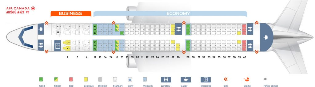 Seat map and seating chart Airbus A321 200 Air Canada V1