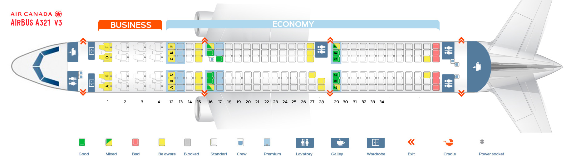 Seat map and seating chart Airbus A321 200 Air Canada V2