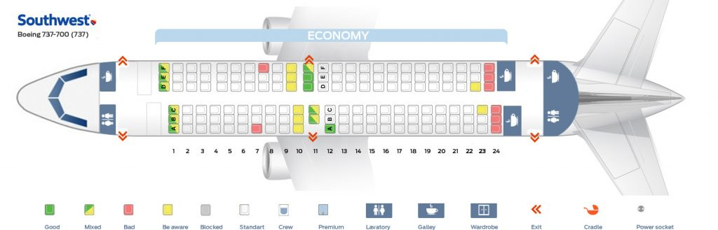 Seat map and seating chart Boeing 737 700 Southwest Airlines
