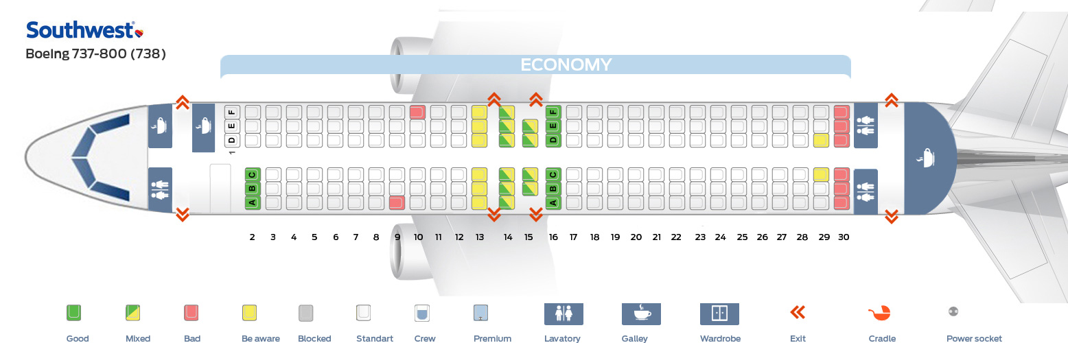 Southwest Seat Map Seat map and seating chart Southwest Airlines Boeing 737 800 738  Southwest Seat Map