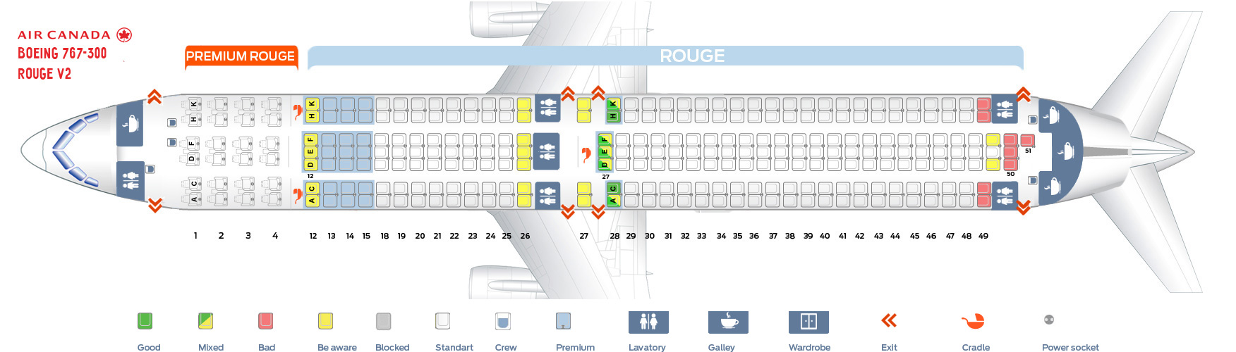 Second Cabin Configuration Seat Map and Seating Chart Boeing 767 300ER Air Canada Rouge