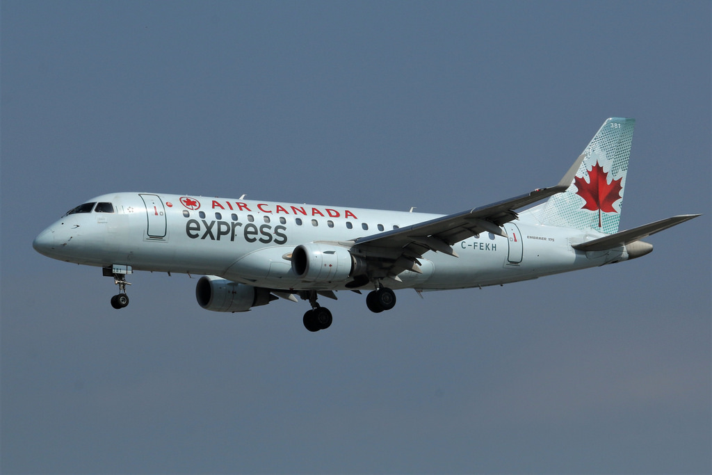Sky Regional Airlines C FEKH Air Canada Express Embraer E175 on finals landing at runway 23 from Dallas Fort Worth DFW YYZ