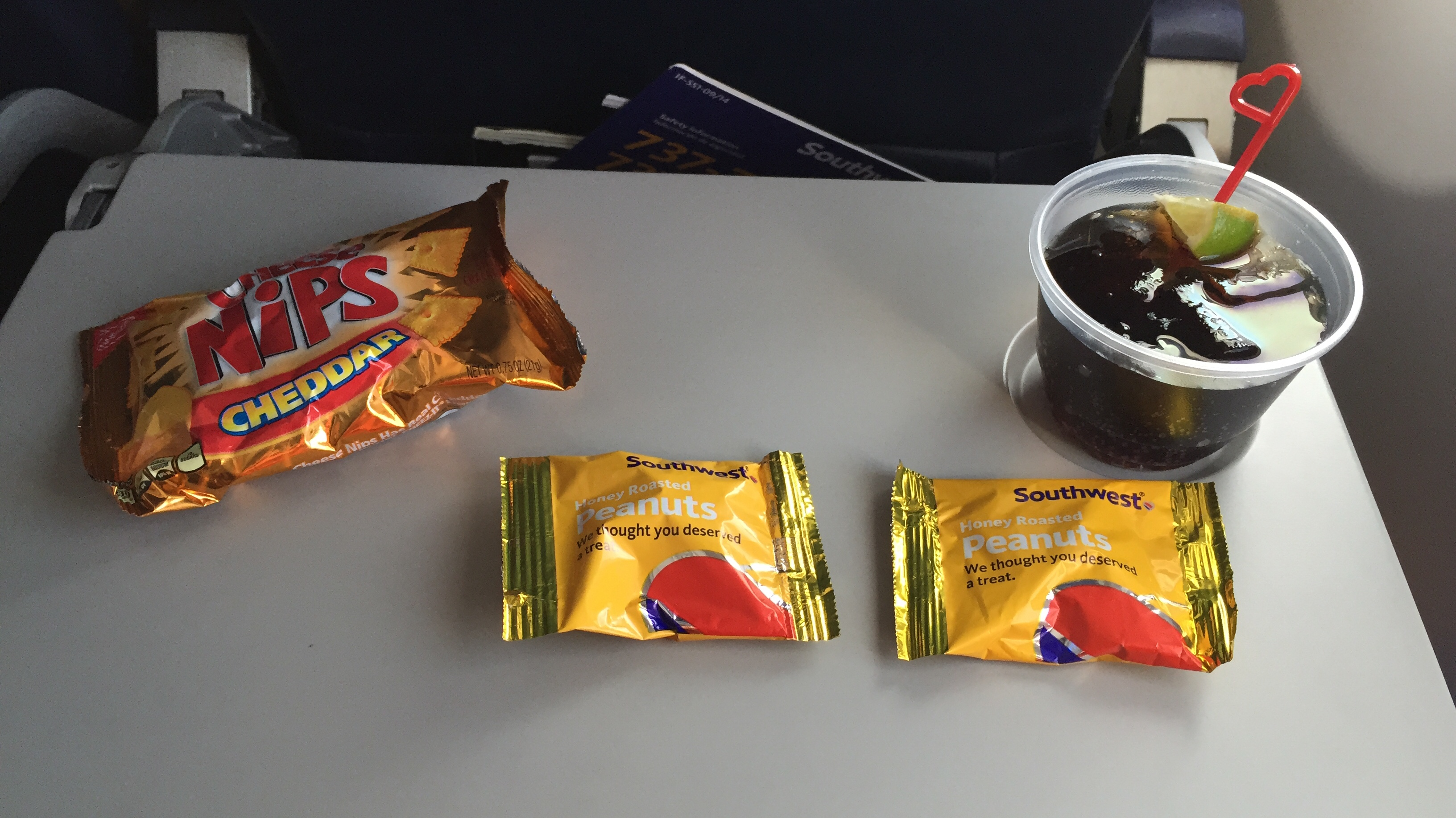 Southwest Airlines Aircraft Boeing 737 800 Economy Cabin Inflight Amenities Beverages Snacks and Drinks Services