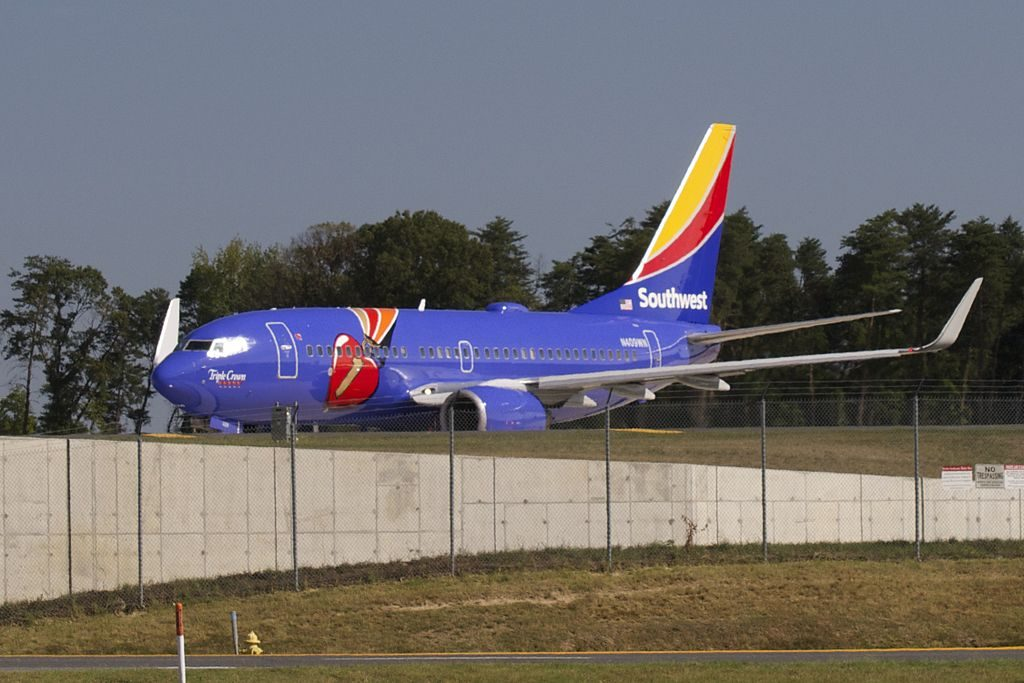 Southwest Airlines Boeing 737 700 N409WN Special Livery Color Triple Crown One at Baltimore Washington International Thurgood Marshall Airport BWI